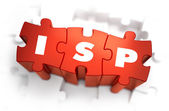 ISP - Text on Red Puzzles. — Stock Photo