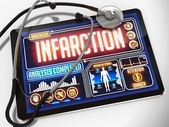 Infarction on the Display of Medical Tablet. — Stock Photo
