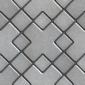 Gray Paving  Slabs as Large Rhombuses with a Cross in the Center. — Stock Photo