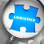 Logistics - Missing Puzzle Piece through Magnifier. — Stock Photo #74715343