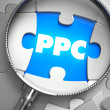 PPC - Missing Puzzle Piece through Magnifier. — Stock Photo #74834527