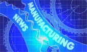 Manufacturing News on the Cogwheels. Blueprint Style. — Stock Photo