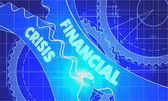 Financial Crisis on the Cogwheels. Blueprint Style. — Стоковое фото