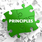 Principles on Green Puzzle. — Stock Photo