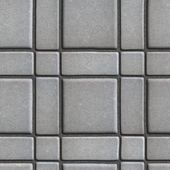 Large Quadratic Gray Pattern Paving Slabs Built of Small Squares and Rectangles. — Stock Photo