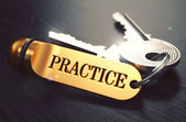Practice - Bunch of Keys with Text on Golden Keychain. — Stock Photo