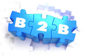 B2B - White Word on Blue Puzzles. — Stock Photo