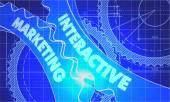 Interactive Marketing on the Gears. Blueprint Style. — Stock Photo