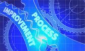 Process Improvement on the Gears. Blueprint Style. — Stock Photo