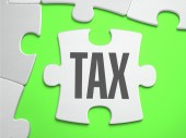 Tax - Jigsaw Puzzle with Missing Pieces. — Stock Photo