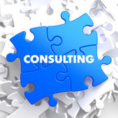 Consulting on Blue Puzzle. — Stock Photo