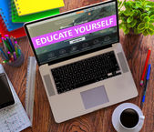 Educate Yourself Concept on Modern Laptop Screen. — Stockfoto