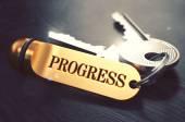 Progress - Bunch of Keys with Text on Golden Keychain. — Foto de Stock