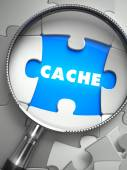 Cache - Puzzle with Missing Piece through Loupe. — Стоковое фото