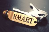 Smart - Bunch of Keys with Text on Golden Keychain. — Stock Photo