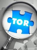 TOR - Missing Puzzle Piece through Magnifier. — Fotografia Stock