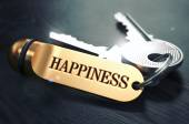 Keys to Happiness. Concept on Golden Keychain. — Stock Photo