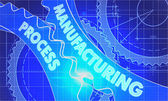 Manufacturing Process on Blueprint of Cogs. — Stock Photo