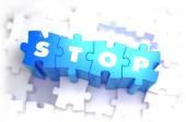 Stop - White Word on Blue Puzzles. — Stock Photo