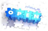 Open - Text on Blue Puzzles. — Stock Photo