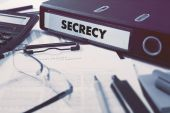 Secrecy on Ring Binder. Blured, Toned Image. — Stock Photo