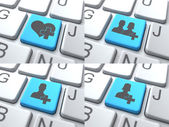 E-Dating Concept - Blue Button on Keyboard. — Stock Photo