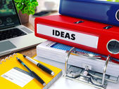 Ideas on Red Ring Binder. Blurred, Toned Image. — Stock Photo