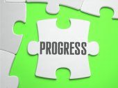 PROGRESS - Jigsaw Puzzle with Missing Pieces. — Stock Photo