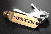 Keys to Innovation. Concept on Golden Keychain. — Stock Photo