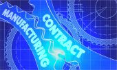 Contract Manufacturing Concept. Blueprint of Gears. — Stock Photo