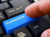 Customize - Concept on Blue Keyboard Button. — Stock Photo