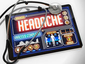 Headache on the Display of Medical Tablet. — Stock Photo