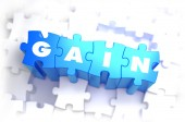 Gain - White Word on Blue Puzzles. — Stock Photo