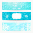 Set of horizontal holidays christmas banners with blue background, santa with speech bubble and snowflakes — Stock Vector #58813719