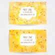 Set of two creative business card templates with artistic vector design. Yellow autumn background with leaves and berries pattern. — Stock Vector #58816527