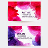 Set of two creative business card templates with artistic vector design. Abstract pink and purple watercolor splashes. — Stock Vector