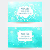 Set of two creative business card templates with artistic vector design. Blue water background with light bokehs. — Stock Vector