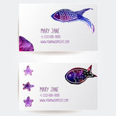 Set of two creative business card templates with artistic vector design. Hand drawn watercolor violet fish with sea stars. — Stock Vector