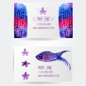 Set of two creative business card templates with artistic vector design. Pink and purple watercolor spots and stains. — Stock Vector