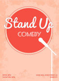 Stand up comedy event poster. Retro style vector illustration with pink circle, white silhouette of microphone and text. — Stock Vector