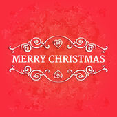 Fancy ornate borders with text merry christmas at red textured background — Stockvector