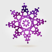 Violet vector textured snowflake isolated on white background — Stock Vector