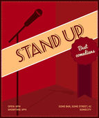 Stand up comedy event poster. Retro style vector illustration with black silhouette of microphone, badge best comedians and text. — Stock Vector