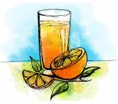 Hand drawn orange juice with slices of orange and leaves — Stock Vector