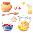 Honey pot with wooden dipper, jug and glass of orange lemonade, cookie and bowl with cherries. Set of hand drawn watercolor vector elements. — Stock Vector #60513739