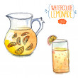 Jug of lemonade with slices of citrus and glass filled with orange juice. Vector watercolor illustration. — Stock Vector #60513775