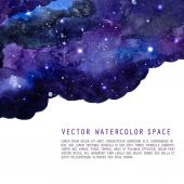 Watercolor night sky background with stars. Vector cosmic layout with space for text. — Stock Vector