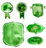 Set of watercolor green and blue badges and labels. Vector artistic elements on white rumple paper background for nature, organic and eco friendly designs. — 图库矢量图片