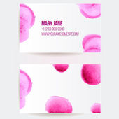 Two sided business card template with pink and violet watercolor paint swashes. Artistic vector design. — Stock Vector