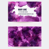 Two sided business card template with pink and violet watercolor paint spots. Artistic vector design. — Stock Vector